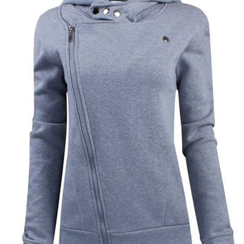 Turn Down Zippered Collar Long Sleeve Hoodie