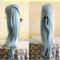 2014 New Arrival 80CM Long Light Blue Color Beautiful Lolita Wig, Costume Anime Cosplay Wigs for Party UF096