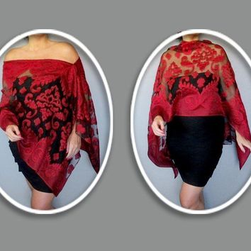 Red Evening Wrap Black Chiffon Stole Christmas Shawl By ZiiCi