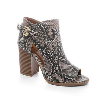Snakeskin Merry Peep Toe Booties