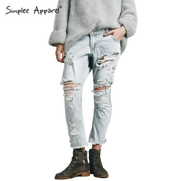 Simplee Apparel sexy ripped hole fringe denim casual pants Summer style pocket low waist jeans Light blue cross pants trousers