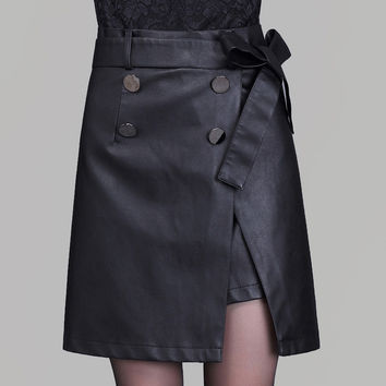 Black PU Belt Button Split Short Skirt