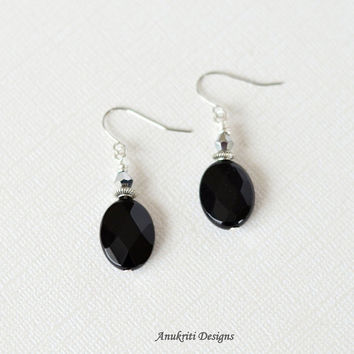 Black Onyx Earrings - Black Dangle earrings - Hypoallergenic earrings - Silver Black earrings - Boho jewelry - Boho earrings - Gift for Her