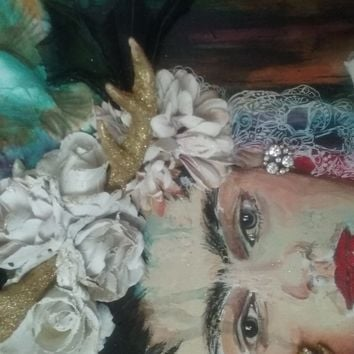 Hand Painted Multi Media Inspirational Art of Freda Kahlo by Cat