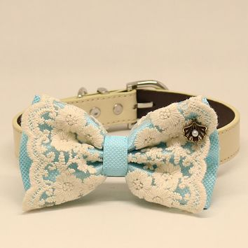 Blue Lace dog bow tie collar, Lace, Leather collar, Puppy Gift,Pet accessory, Country Rustic wedding, Seashell, Pearl, something blue