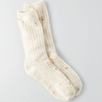AEO Speckled Crew Socks , Oatmeal Heather