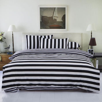 Bedding Set Twin/Full/Queen Size Duvet Cover Set Classic Black and White Bed Sheet Sets Home Textile