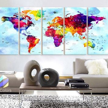 "XLARGE 30""x 70"" 5 Panels 30""x14"" Ea Art Canvas Print Watercolor Map World Countries Cities Push Pin Travel Wall fullcolor background Blue decor Home"