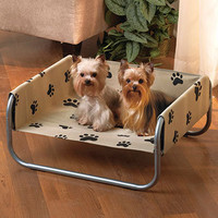 New Paw Print Pet Cot Polyester Fabric Metal Frame Dog Bed Cute