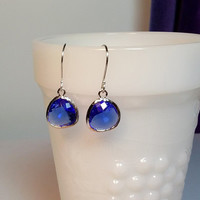 Cobalt Blue Faceted Glass Drop Earrings, Christmas Bridesmaid Mom Sister Girlfriend Jewelry Gift, Silver, Pretty, Cocktail