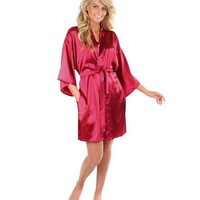 Plain Short Robes Sexy Women Bathrobe Bridesmaid/Bride Satin Robes Silk Kimono Robe Ladies Dressing Gowns