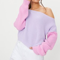 Lilac Off Shoulder Cropped Colour Block Jumper