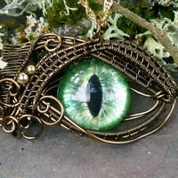 Gothic Steampunk Sable Pendant Evil Eye Green by twistedsisterarts