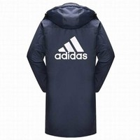 """Adidas"" Winter Warm Women Men Casual Fashion Print Cardigan Long Sleeve Thickened Zipper Cotton-padded Clothes Middle Long Section Coat Windbreaker Blue"