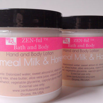 Body Lotion Oatmeal Milk and Honey by ZEN-ful // Hand Cream // Shea Butter Lotion // Paraben Free Lotion // Gift Ideas // Skin Care // 4 oz