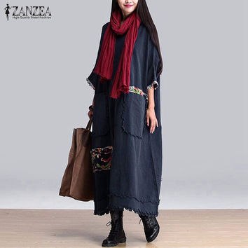 ZANZEA Women Vintage Elegant Dress 2016 Autumn O Neck 3/4 Sleeve Pockets Splice Casual Loose Maxi Long Oversized Dress Vestidos