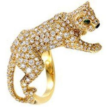 ONETOW Cartier Panthere Yellow Gold Full Diamond Pave Ring