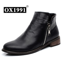 35-41 Handmade Soft Leather Winter Women Boots,OX1991 Brand Black Fur Winter Boots,Fashion Casual Women Shoes Ankle Boots