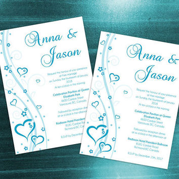 DIY Printable Wedding Invitation Card Template | Editable MS Word File | 5  X 7 |