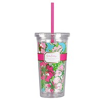 Tumbler with Straw in Big Flirt by Lilly Pulitzer