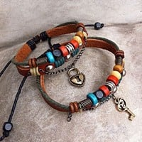 accessoryinlove — Handmade Couple Leather Bracelets- Key To My Heart