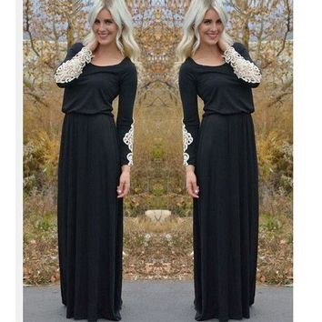 ONETOW Hot Sale Women's Fashion Black Long Sleeve Mosaic Lace Prom Dress [4918513028]