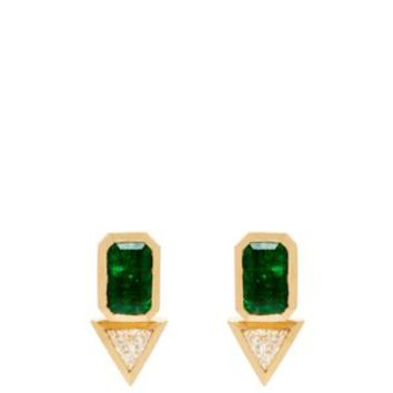 18kt gold, emerald & diamond studs | Azlee | MATCHESFASHION.COM US