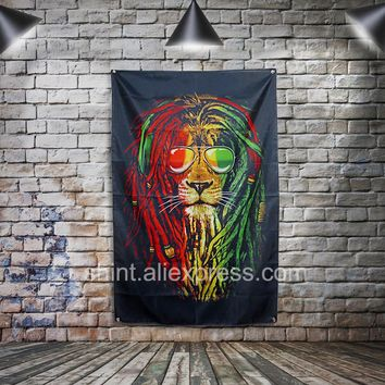 Bob Marley Flag Banner Polyester 3 x 5 ft. Hang on the wall 4 grommets Custom Flag indoor Colorful Lion