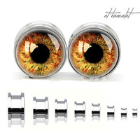 plugs for gauged ears, Eyesball steel ear gauge, silvery tunnel plugs,Stainless Steel Screw Ear Gauges,guage earrings,