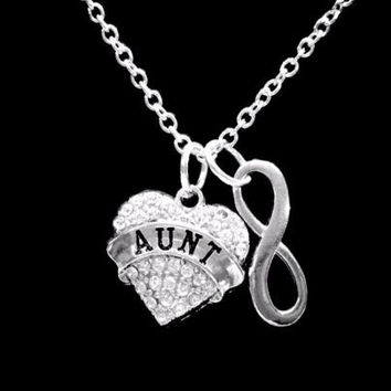 Crystal Aunt Heart Infinity Mother's Day Valentine Gift Charm Necklace