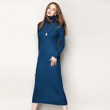CREYHY3 New 2016 autumn winter sexy fashion women turtleneck long sleeve dress sheath knitted pullovers casual warm dresses blue
