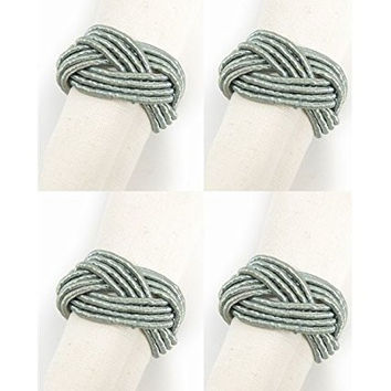 Sailor's Knot Braided Napkin Rings - Set of 4 in Light Teal