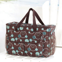 New Brown Circle Oversized Cooler Carry Tote Sporting Events Beach Pool Camping
