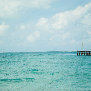 TURQUOISE OCEAN, Mayan Riviera, Mexico, Cancun, nautical, digital download, Instant printable art, ocean sea photo download, CARIBBEAN Sea