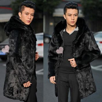 Luxury Winter autumn hooded thicken thermal mink hair fur leather jackets men black casual mens medium-long coats outerwear 6xl