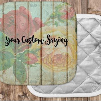 Floral Themed Hot Pad - Custom Pot Holder - Floral Kitchen Accessories - Personalized Kitchen Decor - Mother's Day Gift - Decor