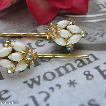 Milk Glass Rhinestone Hair Pin Set, Aurora Borealis