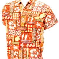 HAWAII VINTAGE SURFING BUTTON UP HAWAIIAN SHIRTS FOR MEN 1577 Orange XL
