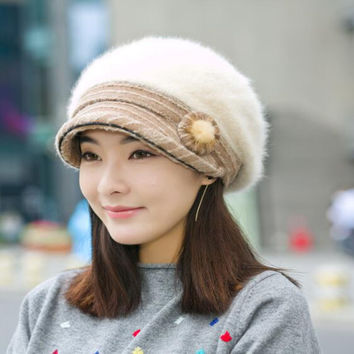 2016 New Style 1920s Elegant Winter Rabbit Hair Cap Beret Bucket Cloche Hat Skillies and Hats for Women and Lady