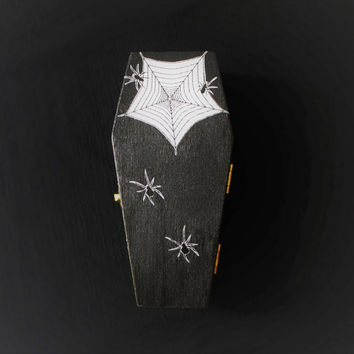 Halloween Spider Coffin Casket Ring Box Jewelry Box Trinket Box In Black