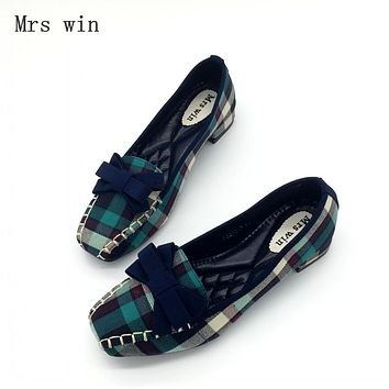 2017 Fashion Blue Gingham Women Casual Loafers Square Toe Bowtie Flats Heels Shoes For Woman Ladies Single Shoes Zapatos Mujer