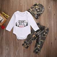 2016 Fashion Baby Winter Clothes Newborn Baby Girl Boy Clothes Crawl Walk Hunt Tops Romper +Pants Trousers Hat Outfits Set 3PCS