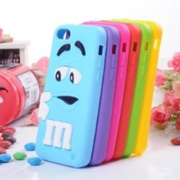JBG Red iphone 5C Cute 3D Cartoon Milk Chocolate Bean M&M Figer Bean Soft Silicone Back Case For Apple iphone 5C