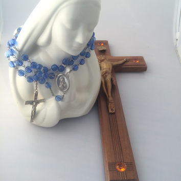 Vintage Planter Wood Cross and Blue Rosary With Virgin Mary and Jesus Crucifixion