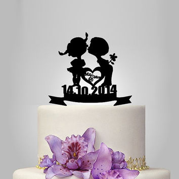 personalizefunny Wedding Cake Topper, Elegant Wedding Cake Topper, birthday cake toppers, custom event date with kids silhouette