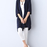 Women Half Sleeve Pure Color Cardigan Summer Beach Cover Up
