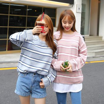 Kawaii Women Preppy Style Candy Color Stripe Pullover And Jumper Female Harajuku Retro Loose Thick Cute Sweater
