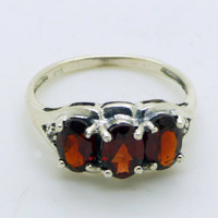 3 ct Garnet Ring Sterling Silver 925 Ring