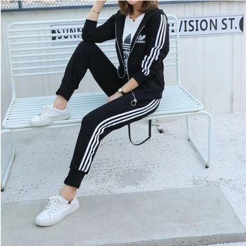 Adidas Couple Hoodie Unisex Casual Stripe Letter Solid Color Long Sleeve Two-Piece Suit Clothes