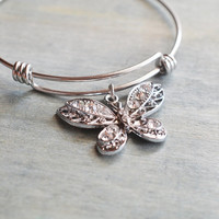 butterfly bangle, silver bangle, butterfly bracelet, insect jewelry, best friend gift, bridesmaid gift, bridal bracelet, christmas bangle